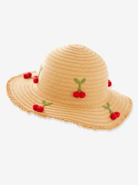 Cherry Hat for Girls yellow light all over printed