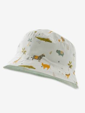 Reversible Hat with Animals, for Baby Boys white light all over printed