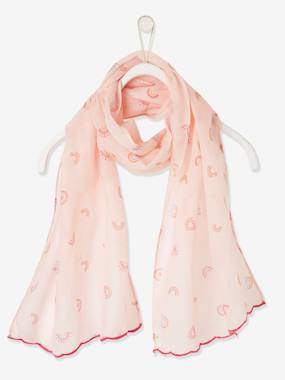 Scarf with Rainbow Print for Girls pink light all over printed