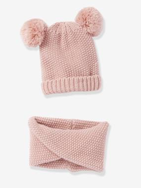 Beanie with Pompoms & Crossover Snood Set for Girls dark pink