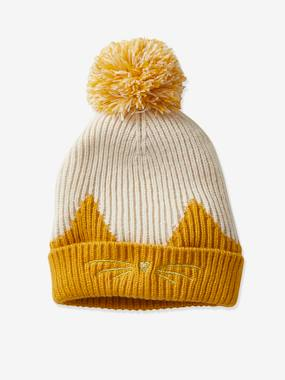Cat Beanie with Pompom for Girls, Two-Tone yellow/print