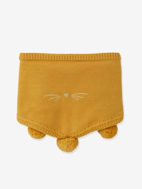 Cat Snood with Pompoms, for Girls yellow/print