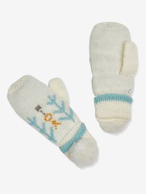 Jacquard Knit Gloves with Faux Fur Pompoms for Girls, Oeko Tex® multi