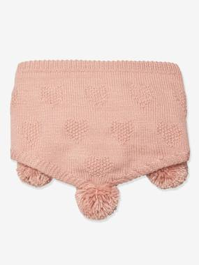 Oeko Tex® Triangular Snood with Hearts for Girls light pink